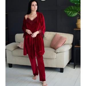 Пижама женская шорты+майка+штаны+халат 061-7