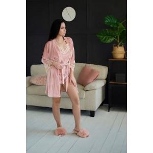 Пижама женская шорты+майка+штаны+халат 061-2