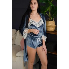 Пижама женская шорты+майка+штаны+халат 061-1
