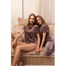 мод 094 Плюшевый комплект тройка : Футболка+шорты+штаны-094-1