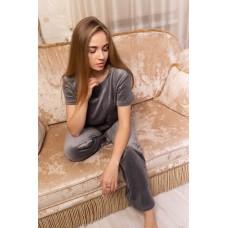 мод 094 Плюшевый комплект тройка : Футболка+шорты+штаны-094-3