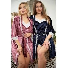мод 063 Велюровый комплект  Халат + Майка +шорты  украшены 2мя видами  кружева -063-11