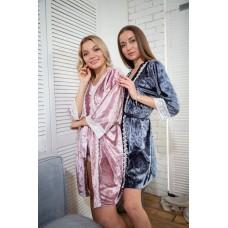 мод 063 Велюровый комплект  Халат + Майка +шорты  украшены 2мя видами  кружева -063-12