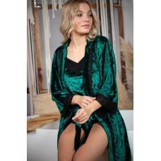мод 063 Велюровый комплект  Халат + Майка +шорты  украшены 2мя видами  кружева -063-15