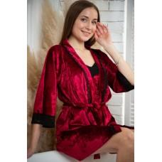 мод 063 Велюровый комплект  Халат + Майка +шорты  украшены 2мя видами  кружева-063-17