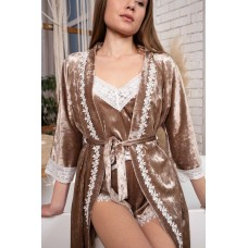мод 063 Велюровый комплект  Халат + Майка +шорты  украшены 2мя видами  кружева -063-18