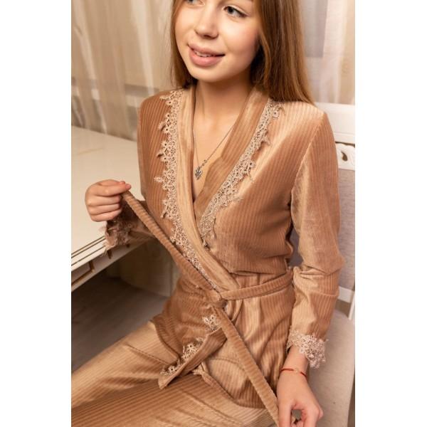 Невероятно нежные и прятные к телу бархатные пижамки. Не упусти возможность заказать пижамку по скидке!!! Качественный пошив! Модель 092-5